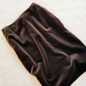 Escada Chocolate Velvet Knee Length Skirt